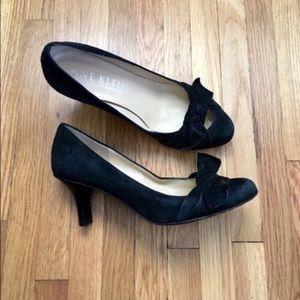 Anne Klein Black Suede Bow Heels